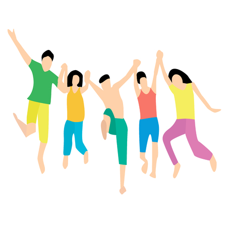 Friends jumping together. Five friends in a jump. Flat style. Vector illustration.