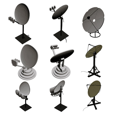 Set with satellite dishes. Vector illustration. Satellite dishes in isometry. Vettoriali