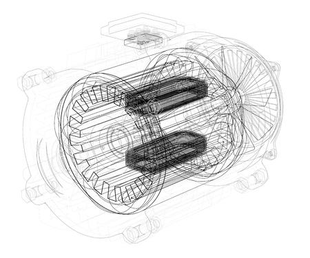 El contorno del motor en 3D. Dibujo de motor con interiores. Ilustración vectorial.