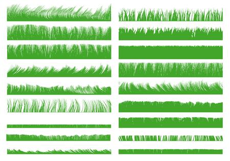 Set con contorni realistici dell'erba. Illustrazione vettoriale.