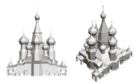 Church with domes. Detailed model of the church. Vector illustration. Front view and isometry. Illustration
