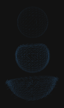 Geometric ball is breaking. The sequence of three stages. Mesh cover. Vector illustration.