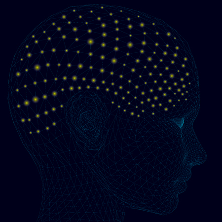 Head of a man with lights. A polygonal human head with a multitude of small yellow lights forming the brain and the human thought process. 3D Vector illustration.