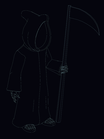 Vector illustration of the outlines of death in a raincoat with a hood and with a scythe. Stock Illustratie