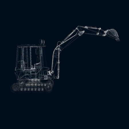 The wireframe of a small excavator. 3D. dark blue background. Vector illustration.