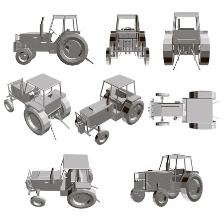 Set con un trattore. Modello di un trattore dettagliato in diverse posizioni. illustrazione vettoriale 3D.