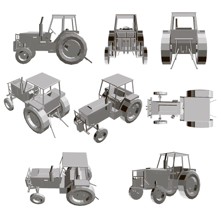 Set with a tractor. Model of a detailed tractor in different positions. 3D Vector illustration.