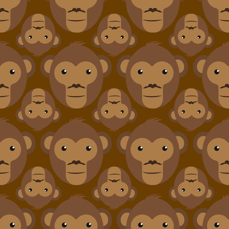 Seamless texture with monkey heads. Flat style. Vector illustration.