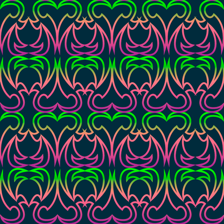 Seamless texture with ornaments. Ornaments with a gradient from green to pink. Ornaments in the shape of a heart. Vector illustration.