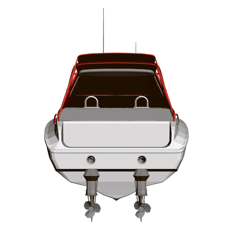 Sports boat red and white. Back view. Polygonal boat 3D. Vector illustration.