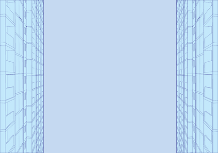 Background with outlines of high-rise buildings on the sides. Vector illustration.