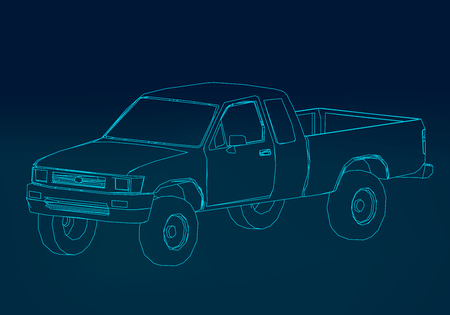 Wireframe pickup. The contour of the car on a dark blue background. 3D. Vector illustration. Illustration