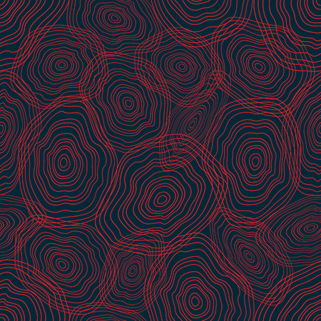 Seamless texture with curved circles. Decorative texture with red rings. Vector illustration.