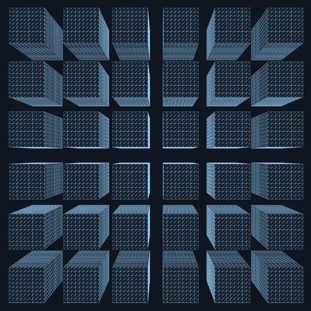 Background with a variety of polygonal wireframes of rectangles. 3D View from above. Vector illustration.