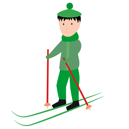 A boy in a green suit and hat is skiing. Cartoon style. Vector illustration.