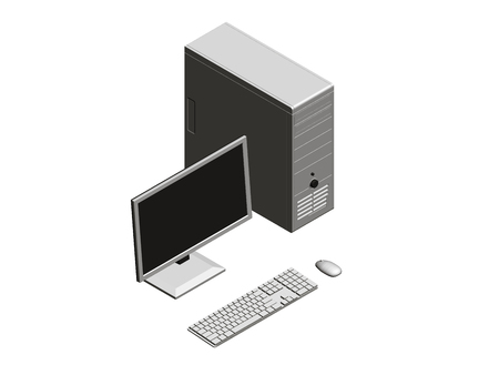 Vector illustration of a computer assembly. Isometry System unit, monitor, keyboard and mouse. 3D.
