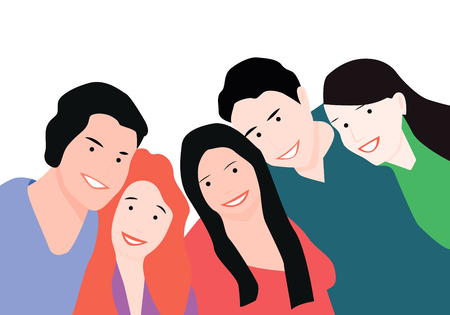 Two guys and three girls hug. A group of friends are embracing and smiling. Flat style. Vector illustration.