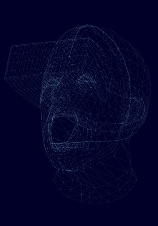 Head with glasses VR. The wireframe of the head of a man with glasses of virtual reality. A man screams with delight in glasses VR. Vector illustration.