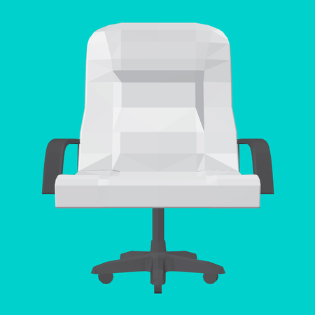 Polygonal chair on a turquoise background. 3D. Front view. White armchair with black handles. Vector illustration.