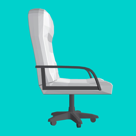 Polygonal chair on a turquoise background. 3D. Side view. White armchair with black handles. Vector illustration.
