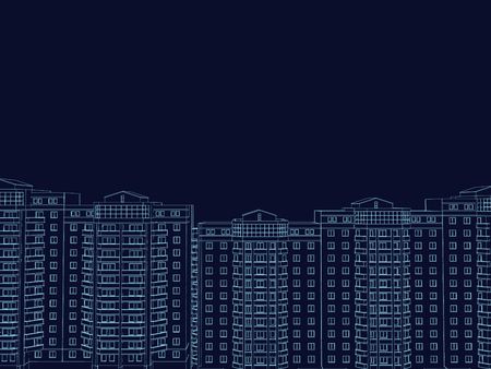 The contours of multi-storey buildings on a dark blue background. 3D. The wireframe of the buildings of the blue lines. Vector illustration.