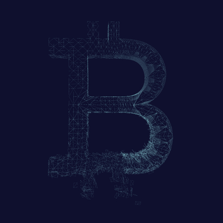 The wireframe of the bitcoin symbol is collapsing. Bitcoin breaks down into many fragments. Dark blue background. Vector illustration.