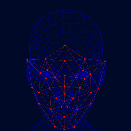 Recognition of the girls face. The polygonal wireframe of the girl's head demonstrates face recognition technology. A lot of points and lines for recognizing a persons personality.