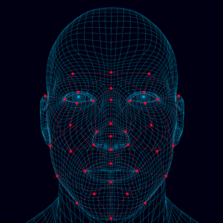 Face recognition men. The polygonal wireframe of the head of a man demonstrates face recognition technology. A lot of points and lines for recognizing a persons personality. Vector illustration.
