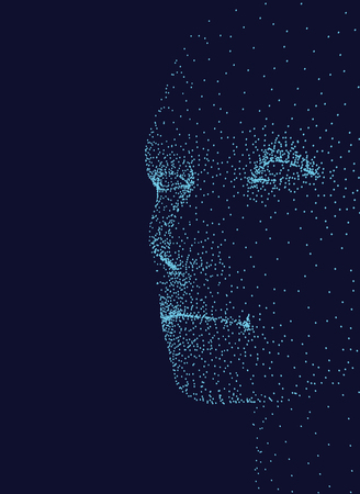 The face of a man consisting of points on the side. Mans face on a dark blue background. Vector illustration.
