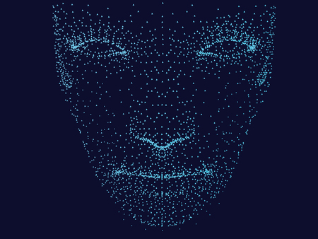 The face of a man in front of points. Mans face on a dark blue background. Vector illustration.
