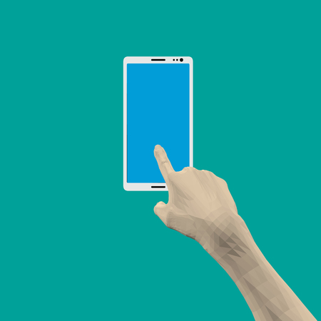 Finger tapping on the phone screen. Vector illustration.