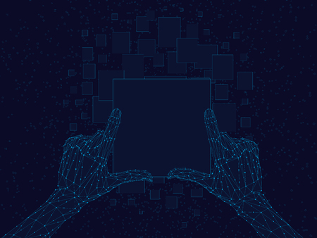 Polygonal human hands hold abstract screen. Technological background. The wireframe of the hand of man. Vector illustration. Illustration