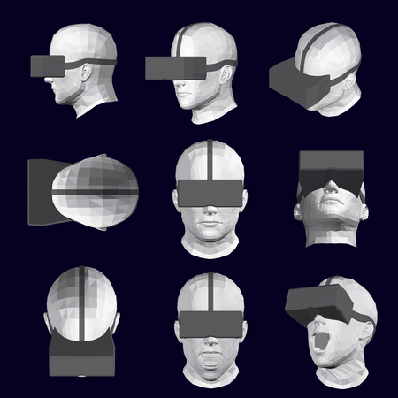 Set with heads in glasses of virtual reality. Vector illustration of 9 male heads from different angles with glasses of virtual reality. 3D Polygonal human head in different positions.