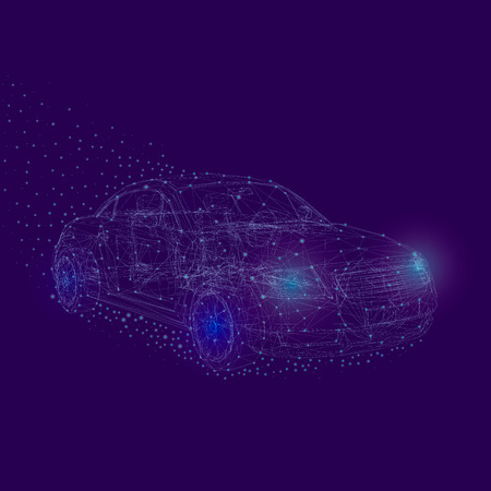 Car wireframe with small glowing lights around it. The contour of the polygonal machine on a dark blue background. Vector illustration.