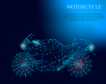 Polygonal motorcycle with shining lights on a dark blue background. Detailed motorcycle wireframe. Side view. Vector illustration.