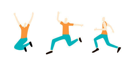 A man runs and jumps. Set in flat style. A man runs and jumps to the finish. Vector illustration.