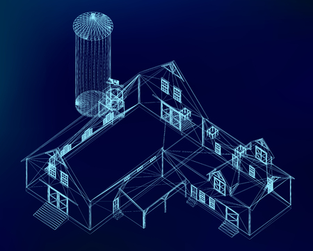 Building wireframe on a dark blue background. Model home project. 3D Vector illustration.