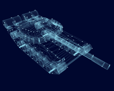 Polygonal wireframe of the tank with glowing lights on a dark blue background. 3D. Vector illustration.
