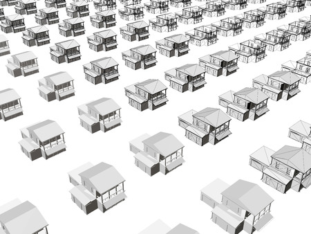 Background with houses. The same houses stand in a row next to each other. 3D. Wireframe houses. Vector illustration.