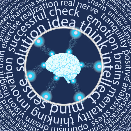 Conceptual background with human brain and a multitude of words around it. Vector illustration. Vettoriali