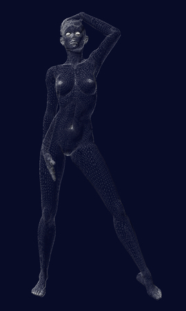 The wireframe of the polygonal girl is in a sexy pose. Polygonal girl standing on a dark background. Vector illustration.