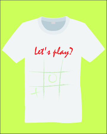T-shirt with a print. White t-shirt with a print of the game tic tac toe and the inscription: Lets play ?. Vector illustration. Çizim