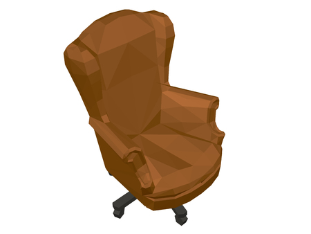 Polygonal chair. Brown comfortable chair. Isolated. Isometric view. Vector illustration. 일러스트