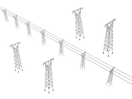 Set with power towers. Isometric. Towers with wires. Vector illustration. Illustration