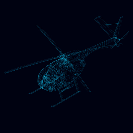 wireframe of helicopter. Isometric view. Polygonal helicopter from blue lines. 3D. Vector illustration.