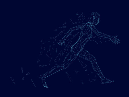 Silhouette wireframe running girl. Model running girl collapses into polygons. Polygonal girl. 3D. Vector illustration.