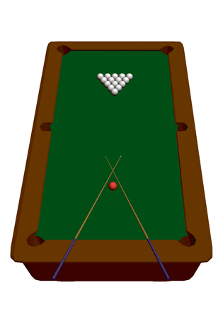 A pool table. Isolated on white background pool table with balls. Isometric view. 3D. Vector illustration.