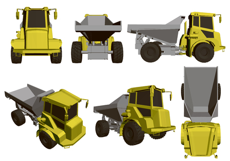 Set with dump truck. Six realistic models of dump trucks with a yellow cab. 3D. Vector illustration.