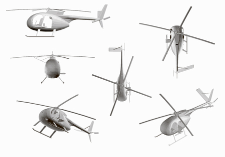 Set of Corporate Helicopter vector template isolated on white background. Gray helicopter mockup template for branding identity design Gray Eurocopter 3D. Passenger aviation mockup Hi-detaild vector