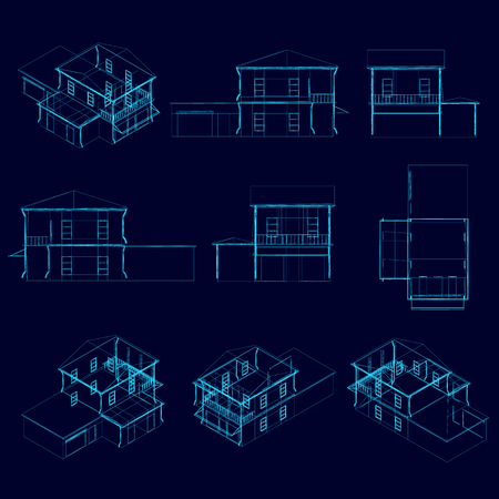 Set with wireframe of the house in different types. Isometric view, back, front, side, top. 3D. Vector illustration.